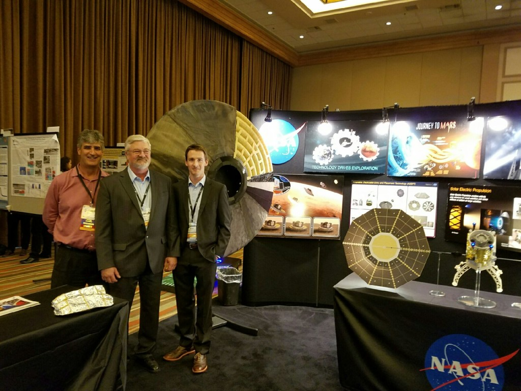 Here our mini HIAD model is displayed at NASA's booth at the NSMMS symposium.